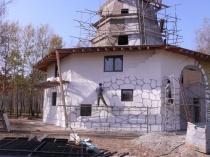 Визуализация отделки фасада под камень посредством окраски рельефной штукатурки