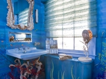 Декоративная штукатурка в ванной морского стиля