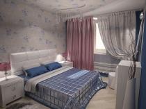 Цветочные серо-голубые обои в спальне