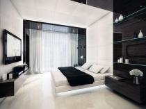 Современная спальня в бело-черных тонах