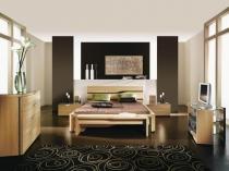 Светло-коричневая мебель в современном дизайне спальни