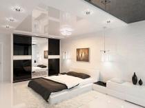Натяжной потолок с подсветкой в спальне модерн