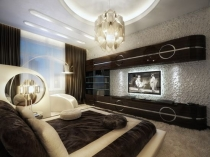Декоративная штукатурка в отделке стены спальни