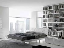 Встроенный книжный шкаф в спальне