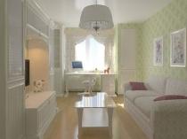 Небольшая бело-зеленая спальня девочки с раскладным диваном