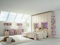 Обустройство детской спальни для девочек на мансарде