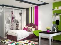 Зонирование спальни девочки при помощи яркой отделки стен