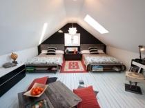Дизайн спальни для подростков на мансардном этаже