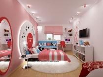 Современная спальня девочки подростка в музыкальном стиле