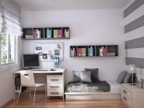 Низкая кровать на подиуме в спальне подростка