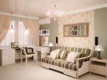 Классический стиль оформления для спальни-гостиной в хрущевке