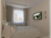 Мебель и отделка спальни хрущевки в светло-бежевых тонах