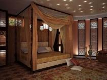 Декоративные панели на стенах спальни в арабском стиле