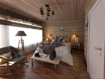 Спальня кантри с деревянной отделкой потолка и стен