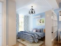 Морской стиль спальни с зонированием при помощи стеллажей