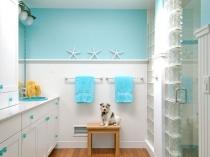 Красивый интерьер ванной со стеклоблоками