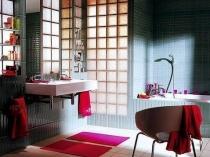 Стильный интерьер ванной комнаты с стеклянных блоков