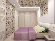 Цветочный дизайн оформления потолка и стены в спальне