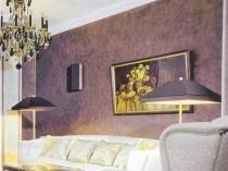 Отделка стен классической гостиной венецианской штукатуркой