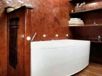 Венецианская штукатурка в отделке ванной