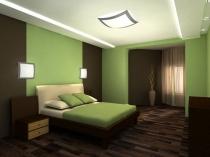 Строгий дизайн спальни в коричнево-зеленом цвете
