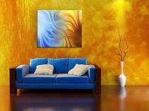 Художественные желто-оранжевые обои в интерьере