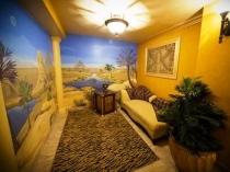 Сине-желтые фотообои в дизайне комнаты