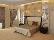 Интерьер спальни в бежевых тонах с золотистыми обоями