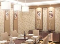 Оформление стен столовой золотисто-бежевыми обоями
