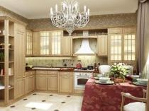 Светлая мебель и серые с золотом обои в интерьере