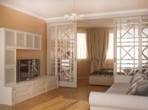 Установка раздвижных дверей для разделения спальни гостиной на зоны
