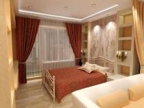 Навесной потолок с подсветкой в спальной зоне гостиной