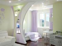 Декоративная перегородка из гипсокартона в спальне гостиной
