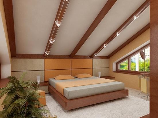 оригинальное оформление потолков на мансарде