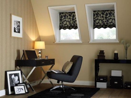 пример оригинальных и стильных штор для мансарды