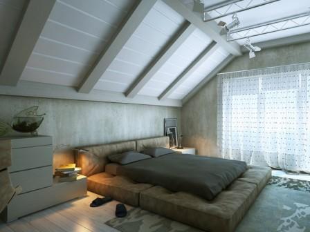 фото интерьера спальни на мансарде