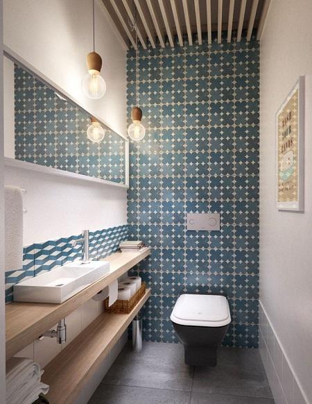 Дизайн небольшого туалета в стиле модерн