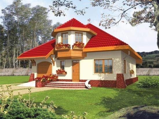 Дом с купольной мансардой на крыше