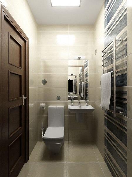 Интерьер узкой туалетной комнаты