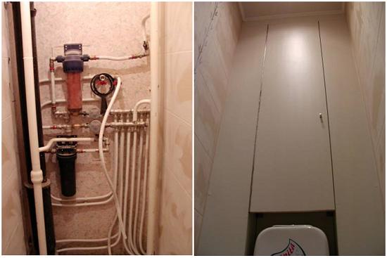 Отделка стены со стояком в туалете