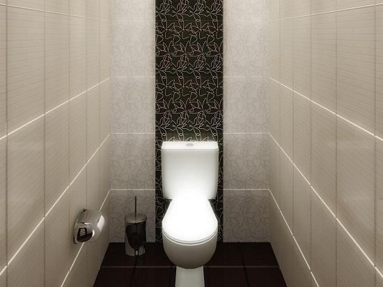 Темная напольная плитка в туалете с отделкой стен белым кафелем