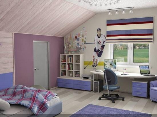 дизайн интерьера мансардной спальни для мальчика подростка