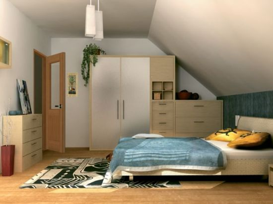 идеи интерьера спальни с мансардной крышей