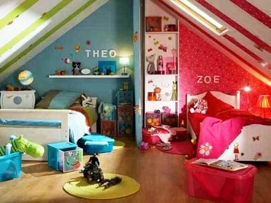 интерьер детской спальни на мансарде для двух разнополных детей