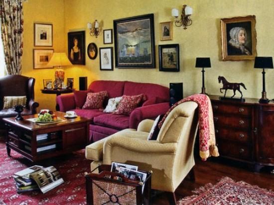 интерьер мансардной комнаты в английском стиле