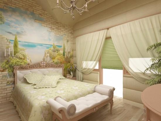 интерьер мансардной спальни в стиле прованс