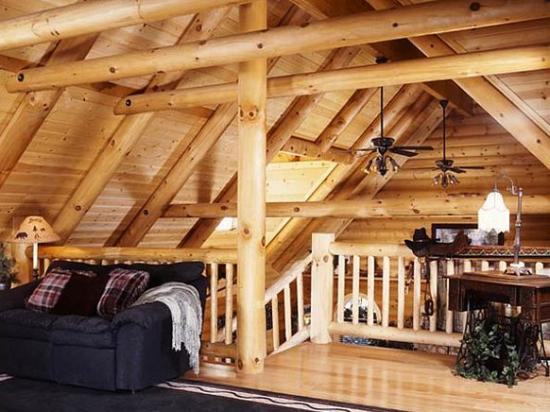 оформление мансарды деревянного дома в стиле шале