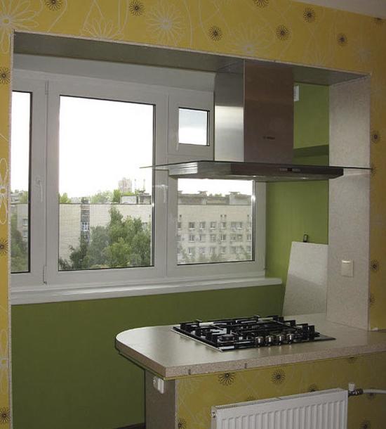 Вот так можно использовать подоконник на объединенной кухне