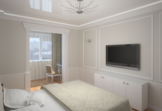 Вариант совмещения спальни и балкона