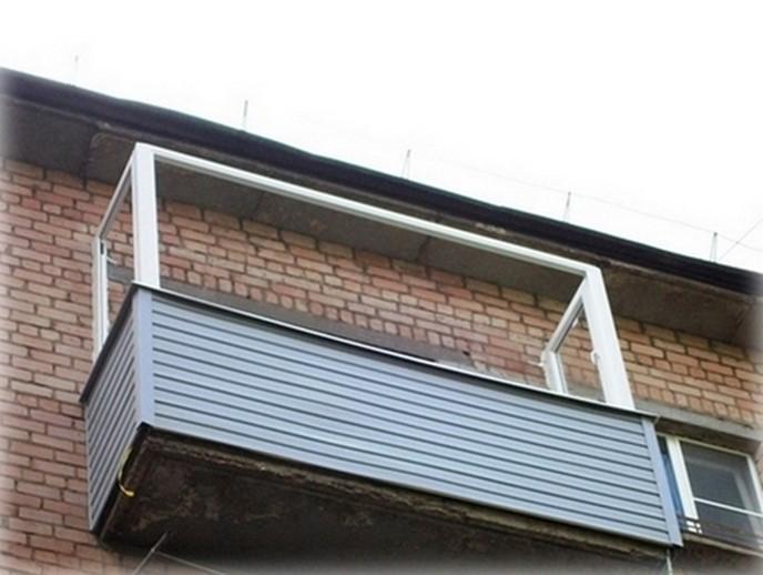 Пример каркаса для балкона без крыши